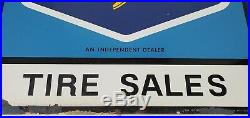 Vtg Goodyear Tire Sales Dealer Double Sided Metal Sign with Bracket Paint Flaking