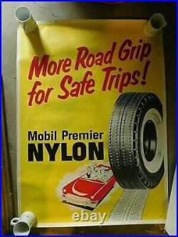Vtg Mobile Tires Paper LITHO Poster for Service Station 47 X 34 NOS