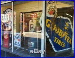 Vtg Original 1940's Goodyear Tires Double Sided 10 Foot Gas Oil Porcelain Sign