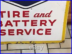 WOW ORIGINAL 1954 GOODYEAR TIRE & BATTERY SERVICE Sign EMBOSSED Gas Oil Vintage