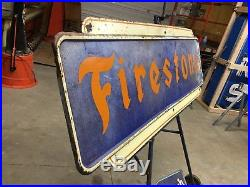 WOW! Vintage ORIGINAL 1947 FIRESTONE TIRE Sign PATINA! 6' OLD Gas Oil WILL SHIP