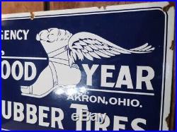 'goodyear'' Large Vintage Gas-oil, Tire 24''x16'' Porcelain Vintage Old Sign